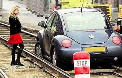 Beetle on train tracks